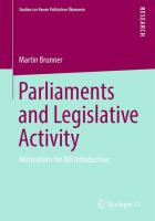 Cover image for Parliaments and Legislative Activity Motivations for Bill Introduction