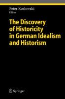 Cover image for The Discovery of Historicity in German Idealism and Historism