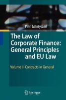 Cover image for The Law of Corporate Finance: General Principles and EU Law Volume II: Contracts in General