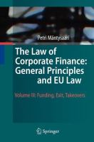 Cover image for The Law of Corporate Finance: General Principles and EU Law Volume III: Funding, Exit, Takeovers