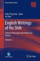 Cover image for English Writings of Hu Shih Chinese Philosophy and Intellectual History (Volume 2)