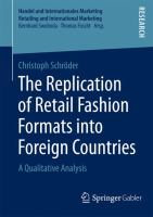 Cover image for The Replication of Retail Fashion Formats into Foreign Countries A Qualitative Analysis
