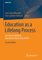 Cover image for Education as a Lifelong Process The German National Educational Panel Study (NEPS)