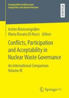 Cover image for Conflicts, Participation and Acceptability in Nuclear Waste Governance An International Comparison Volume III