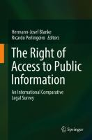 Cover image for The Right of Access to Public Information An International Comparative Legal Survey