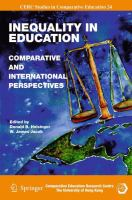 Cover image for Inequality in Education Comparative and International Perspectives