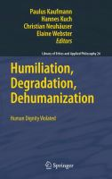 Cover image for Humiliation, Degradation, Dehumanization Human Dignity Violated