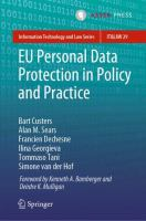 Cover image for EU Personal Data Protection in Policy and Practice