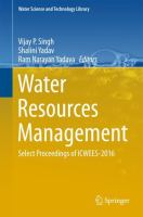 Cover image for Water Resources Management Select Proceedings of ICWEES-2016