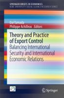 Cover image for Theory and Practice of Export Control Balancing International Security and International Economic Relations
