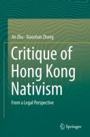 Cover image for Critique of Hong Kong Nativism From a Legal Perspective
