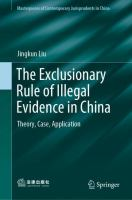 Cover image for The Exclusionary Rule of Illegal Evidence in China Theory, Case, Application