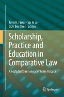 Cover image for Scholarship, Practice and Education in Comparative Law A Festschrift in Honour of Mary Hiscock