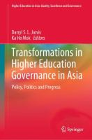 Cover image for Transformations in Higher Education Governance in Asia Policy, Politics and Progress