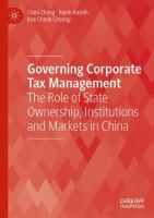 Cover image for Governing Corporate Tax Management The Role of State Ownership, Institutions and Markets in China