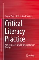 Cover image for Critical Literacy Practice Applications of Critical Theory in Diverse Settings