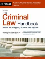 Cover image for The criminal law handbook : know your rights, survive the system.