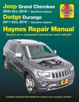 Cover image for Jeep Grand Cherokee & Dodge Durango automotive repair manual / by Ed McCahill, Jesus Chaidez and John H. Haynes.