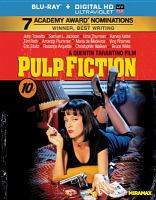 Cover image for Pulp fiction [BLU-RAY] / Miramax Films presents a Band Apart and Jersey Films production ; a film by Quentin Tarantino ; stories by Quentin Tarantino & Roger Avary ; produced by Lawrence Bender ; written and directed by Quentin Tarantino.