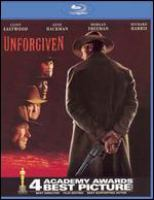 Cover image for Unforgiven [BLU-RAY] / Warner Bros. presents a Malpaso production ; written by David Webb Peoples ; directed and produced by Clint Eastwood.