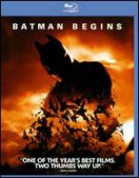 Cover image for Batman begins [BLU-RAY] / Warner Bros. Pictures ; DC Comics ; directed by Christopher Nolan ; screenplay by Christopher Nolan and David S. Goyer ; story by David S. Goyer ; produced by Charles Roven ; produced by Emma Thomas ; produced by Larry Franco ; based upon characters appearing in comic books published by DC Comics ; Batman created by Bob Kane.
