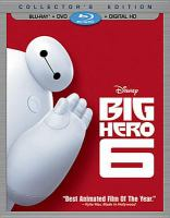 Cover image for Big hero 6 [BLU-RAY] / Walt Disney Animation Studios ; directed by Don Hall & Chris Williams ; produced by Roy Conli, p.g.a. ; executive producer, John Lasseter ; screenplay by Jordan Roberts, Robert L. Baird & Daniel Gerson ; created and produced at Walt Disney Animation Studios.