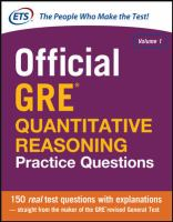 Cover image for Official GRE quantitative reasoning practice questions. Volume 1.