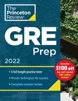 Cover image for Princeton Review GRE Prep, 2022: 5 Practice Tests + Review & Techniques + Online Features