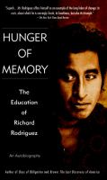 Cover image for Hunger of memory : the education of Richard Rodriguez : an autobiography