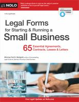 Cover image for Legal forms for starting & running a small business : 65 essential agreements, contracts, leases & letters
