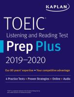 Cover image for TOEIC listening and reading test prep plus : with 4 practice tests.