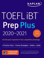 Cover image for TOEFL iBT prep plus 2020-2021.