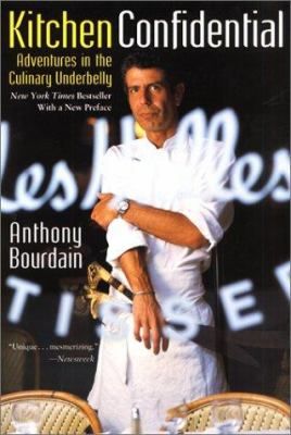 Book cover image: Bourdain in white chef coat with apron