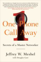 One phone call away : secrets of a master networker cover