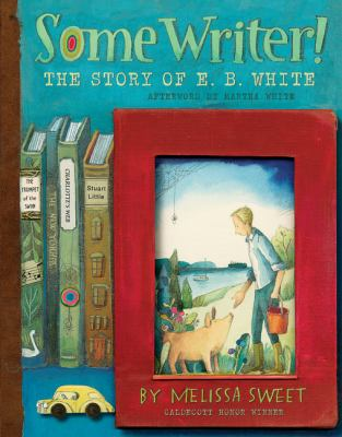 Some Writer book cover: Images of book spines and one book facing out with a man feeding a pig featured onit