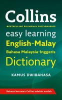 Cover image for Collins easy learning : English-Malay = Bahasa Malaysia-Inggeris dictionary