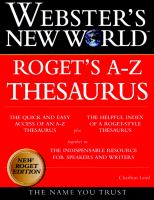 Cover image for Webster's New World Roget's A-Z thesaurus