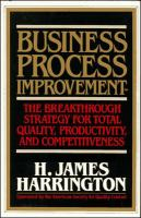 Cover image for Business process improvement : the breakthrough strategy for total quality, productivity and competitiveness