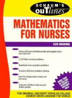 Cover image for Schaum's outline of theory and problems of mathematics for nurses