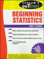 Cover image for Schaum's outline of theory and problems of beginning statistics
