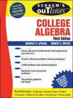 Cover image for Schaum's outline of college algebra
