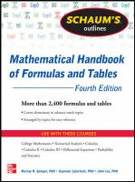 Cover image for Schaum's outline of mathematical handbook of formulas and tables