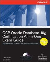 Cover image for Oracle datadase 10g OCP certification all-in-one exam guide
