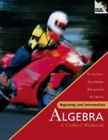 Cover image for Beginning and intermediate algebra : a unified worktext