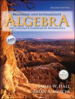 Cover image for Beginning and intermediate algebra : the language and symbolism of mathematics
