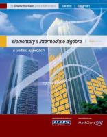 Cover image for Elementary and intermediate algebra : a unified approach