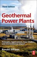 Cover image for Geothermal power plants : principles, applications, case studies, and environmental impact
