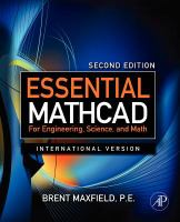 Cover image for Essential mathCAD for engineering, science, and math