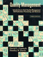 Cover image for Quality management : introduction to total quality management for production, processing and services