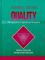 Cover image for Statistical methods for quality : with applications to engineering and management